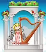Angel playing harp in garden illustration