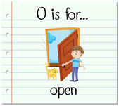 Flashcard letter O is for open
