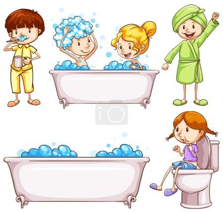 Enfants se brossant les dents et prenant un bain