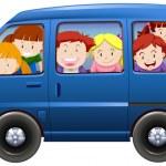 Children having carpool in blue van illustration...