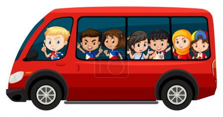 Children riding on red van illustration...