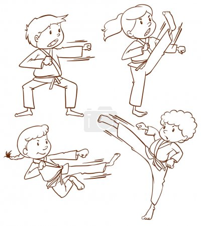 Sketches of people doing martial arts