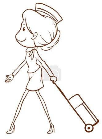 A simple sketch of an air hostess