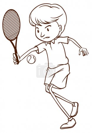 A simple sketch of a man playing tennis