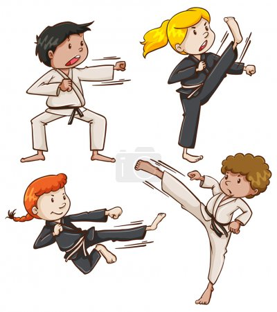 Simple sketch of people engaging in martial arts