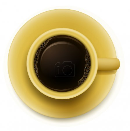 A yellow cup with coffee