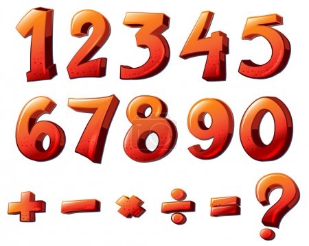 Illustration of the numbers and mathematical symbo...