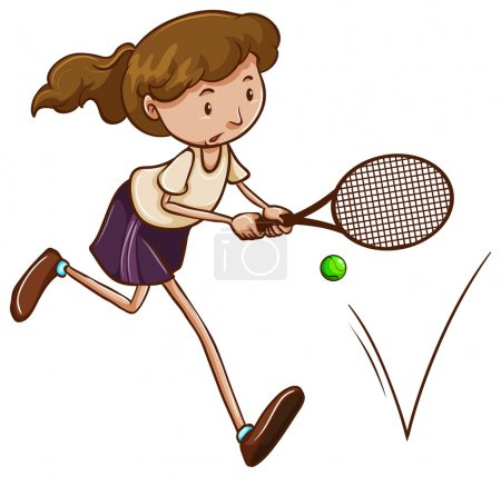 A simple sketch of a girl playing tennis