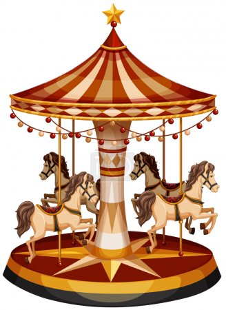 A merry-go-round with brown horses