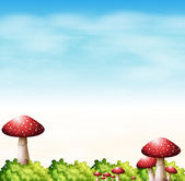 A garden with red mushrooms