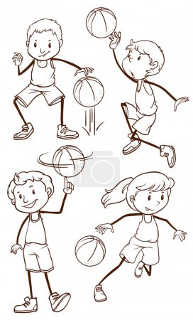 Simple sketches of basketball players
