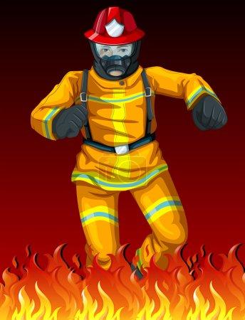Illustration pour Illustration d'un pompier - image libre de droit
