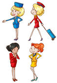 Illustration of he simple sketches of an air hostess ton a white background