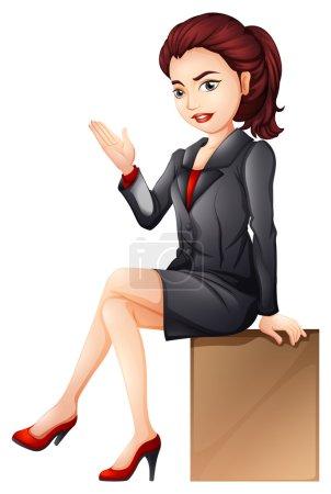 A woman sitting down