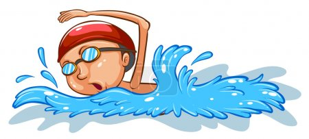 A simple coloured sketch of a boy swimming