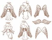 Illustration of the simple sketches of angels and their wings on a white background