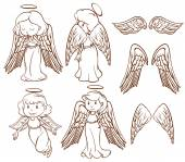 Illustration of different poses of angels