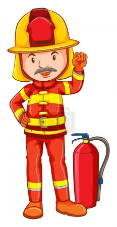 A simple drawing of a fireman