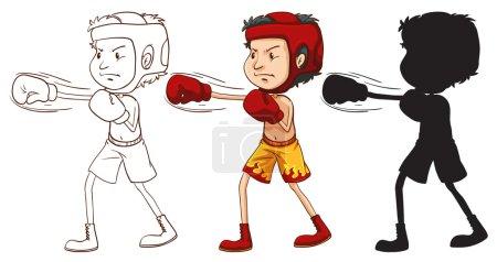 Photo pour Illustration d'un homme boxe - image libre de droit