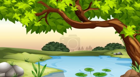 Illustration of a tree and a pond...