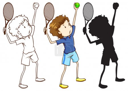 Sketches of the tennis player in three different colours