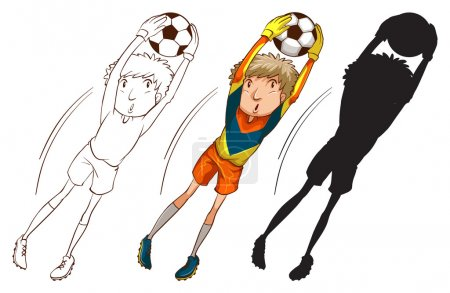 Soccer players in different colours
