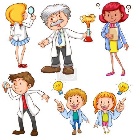 Illustration of many scientists...