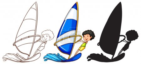 Sketches of a boy playing with the waves in three colours