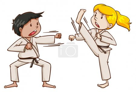 Kids doing martial arts