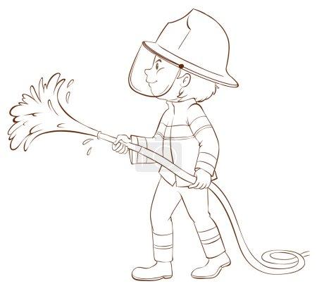 Illustration pour Illustration d'un croquis simple d'un pompier tenant un tuyau sur un fond blanc - image libre de droit