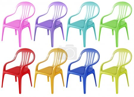 Illustration for Illustration of the colourful plastic chairs on a white background - Royalty Free Image