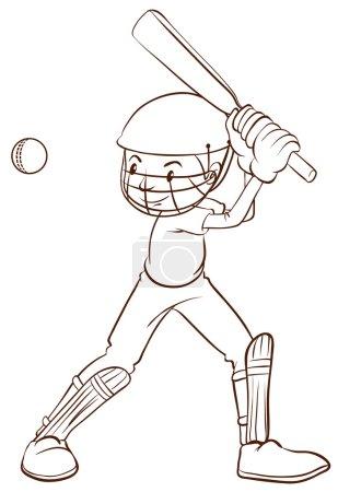 A plain sketch of a cricket player