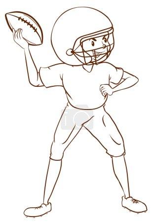 A plain sketch of an American football player