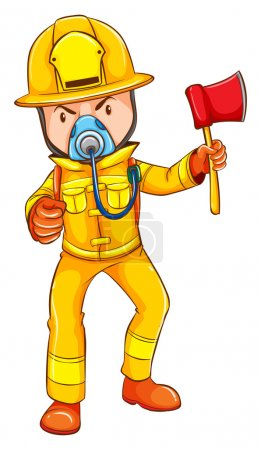 A drawing of a firefighter
