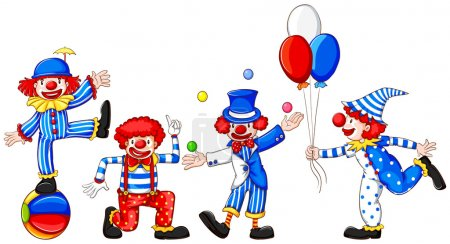 Illustration for Illustration of a sketch of a group of clowns on a white background - Royalty Free Image