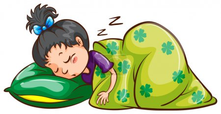 Illustration for Illustration of a girl sleeping soundly on a white background - Royalty Free Image