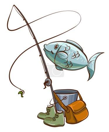 Illustration pour Illustration des équipements de pêche sur fond blanc - image libre de droit