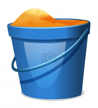 A blue pail with sand