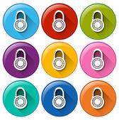 Circle buttons with padlocks
