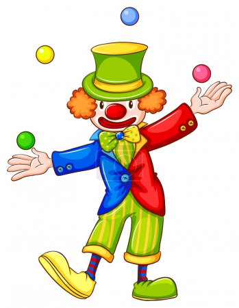 Illustration for Illustration of a drawing of a clown juggling on a white background - Royalty Free Image