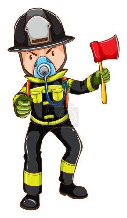 Illustration pour Illustration d'un croquis simple d'un pompier tenant une hache sur un fond blanc - image libre de droit