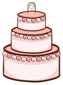 Illustration of a simple drawing of a wedding cake on a white background