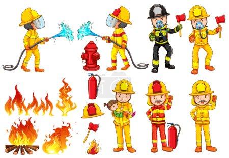 Illustration pour Illustration d'un groupe de pompiers sur fond blanc - image libre de droit