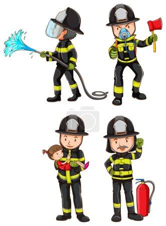 Illustration pour Illustration d'un simple croquis de pompiers sur fond blanc - image libre de droit