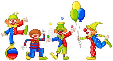 Illustration for Coloured sketches of the four playful clowns on a white background - Royalty Free Image
