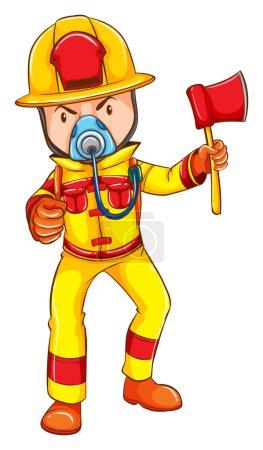 Illustration pour Dessin d'un pompier portant un uniforme jaune sur fond blanc - image libre de droit