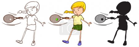 Three sketches of a girl playing tennis
