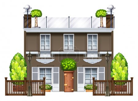 Illustration for A commercial building with a nice rooftop on a white background - Royalty Free Image
