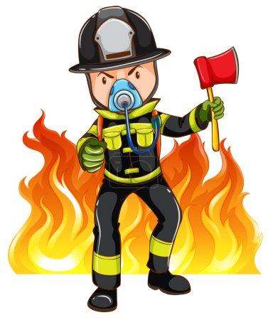 Illustration pour Un pompier courageux sur fond blanc - image libre de droit