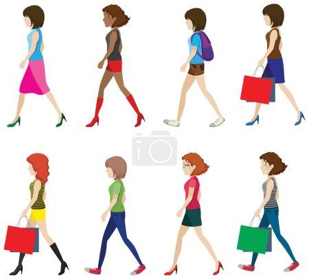 Illustration pour Illustration de nombreuses femmes marchant - image libre de droit